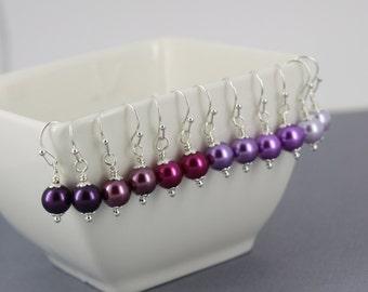 Choose Your Colour Pearl Earrings Bridesmaid Gift Shades of Purple Earrings Purple Plum Magenta Violet Orchid Lavender Earrings