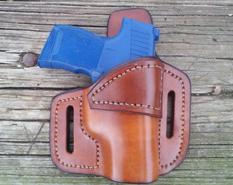 right brown OWB Sig P365 custom leather holster.