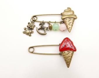 Ice Cream Brooch, hand painted