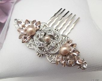 swarovski crystal, wedding hair comb, vintage style, bridal hair comb, rhinestone hair comb, champagne hair comb, pearl hair comb, ROSELANI