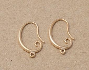 Brass Hook, Jewelry Craft Supplies, Matte Gold Plated over Brass - 4 Pieces-[BH0006]-MG
