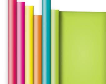 Jillson & Roberts Solid Color Matte Gift Wrap Roll Assortment, Bright (6 Rolls)