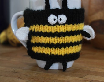 Bumble bee mug cosy (mug included; hand knitted)