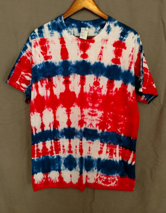 Tie Dye Shirt/Adult T-shirt/Short Sleeve/Red & Navy Blue  Design/Eco-Friendly Dying