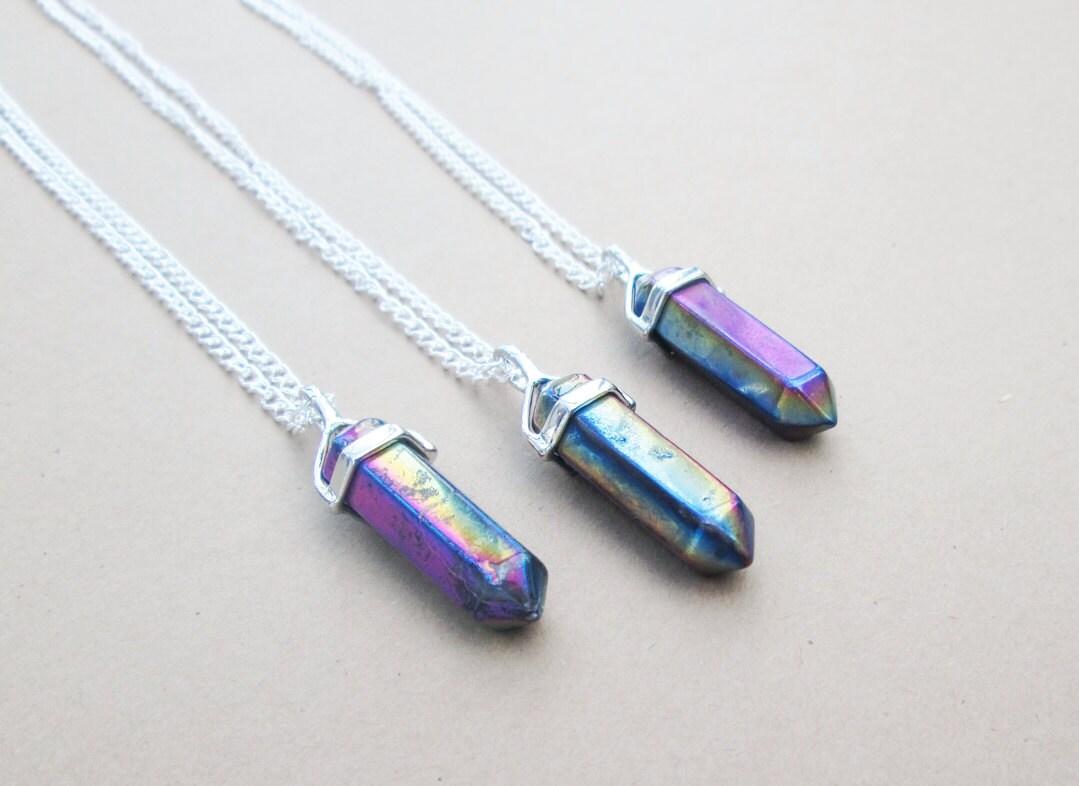 Rainbow quartz necklace holographic titanium quartz point zoom mozeypictures Images