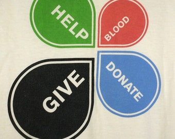 Adult Small Vintage Red Cross Give Blood t shirt White Crew Neck Summer Tops