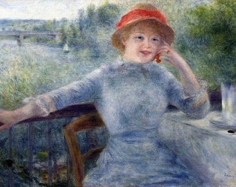 Pierre Auguste Renoir: Portrait of Alphonsine Fournaise. Fine Art Print/Poster. (004286)
