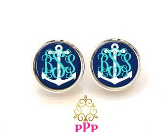 Monogram Earrings, Pendant Earrings, AnchorStud Earrings, Dangle Earrings, Personalized Studs, Personalized Jewelry, Monogram Studs 442