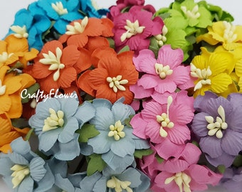 15 Mulberry Paper Flowers for Baskets Scrapbooks Wedding Faux Cupcake Cards Dolls Crafts Rainbow 427/zS4