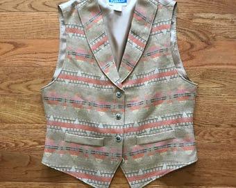 Vintage Pendleton Vest with Aztec print