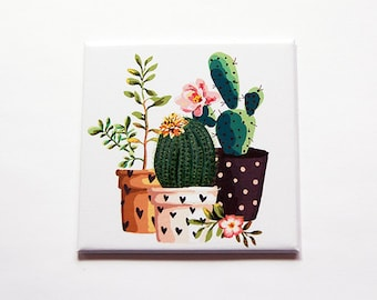 Cactus Magnet, Nature Magnet, Kitchen Magnet, Fridge magnet, Stocking Stuffer, Locker Magnet, Large Square Magnet, cacti magnet (7109)
