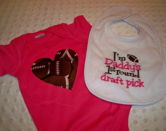 Baby Girl Football Bodysuit and Bib - I'm Daddy's First Round Draft Pick Baby Girl Outfit Pink and Brown Football Baby