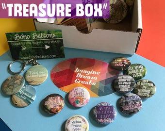 "Monthly Subscription ""Treasure Box"", Mystery Box, Subscription Box, Unique Gift Box, Random Buttons, Subscription Box, Monthly Box"
