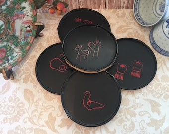 Coasters Japanese Black Lacquer Bamboo