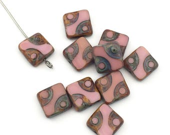 10 Picasso Czech glass pink carved beads,10mm #PV 076