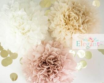 Dusty pink poms/ paper flower/ flower balls/ wedding decoration/ decoration/ paper flower poms/ baby shower/ engagement party decorations