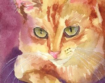 Tabby Cat Art Print of Original Watercolor Painting - 11x14 Cat Art
