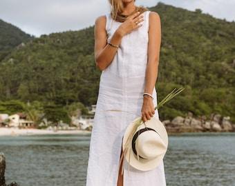 Classic White Linen Maxi Dress | Long Dress | White Dress | Summer Dress | Maxi Dress | Classic Dress | Linen Dress | Beach Dress