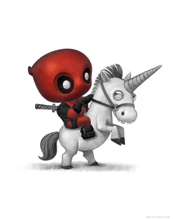 11x14 Baby Deadpool On A Baby Unicorn Print Signed By