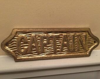 Captain, Captain's Sign, Cast Iron Wall Decor, Gold Captain Sign, Home and Garden Decor, Beach Decor