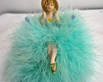 Antique Vintage Half Doll Lady With Legs & Marabou Pin Cushion Or Ring Caddy
