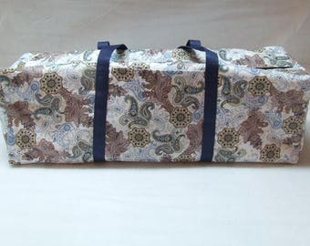 Blue and Brown Paisley Carrying Case for the Cricut Explore Air / Cricut Maker Carrying Bag / Silhouette Cameo 3 Bag /  Brother ScanNCut Bag