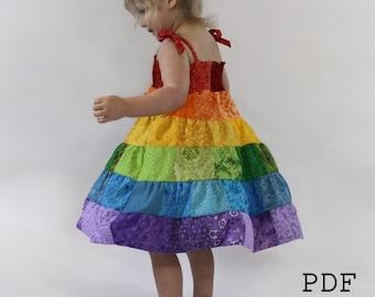 Rainbow Dress PDF Pattern - Toddler/Girls Patchwork Sundress Sewing Tutorial - Instant Download