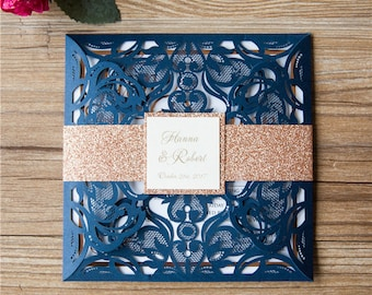 Delicate Lace Laser Cut Square Wedding Invitations Navy Gold Purple Foil Wedding Laser Cut Traditional Wedding Invites Laser Cut