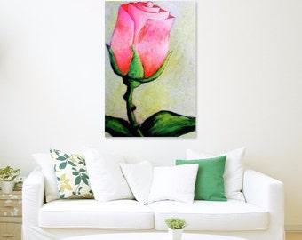 60 x 90 cm, pink rose, rose painting, pink painting, rose floral, floral art, floral painting, rose picture, rose art, rose wall art