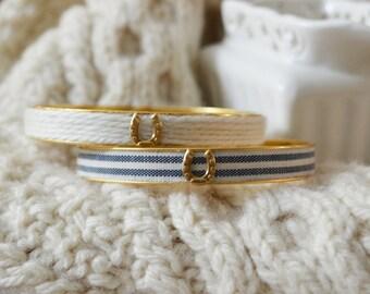 Equestrian Jewelry, Cotton Jewelry, Cotton Bracelet, Horseshoe Jewelry, Equestrian Bracelet, Equestrian Bangle, Preppy Jewelry, Navy Bangle