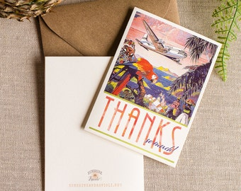 tropical travel poster thank you notes - parrot thank you note card set - destination wedding thanks