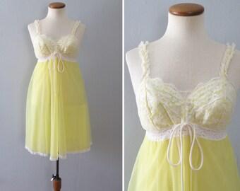 70s yellow slip - vintage white floral lace babydoll bow sheer full skirt nylon chiffon mid century mod pinup lingerie short mini nightie