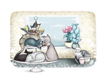 Cat Art Illustration - Cat Cafe - giclee print - cat illustration nursery cafe kitchen art cat lady A4 / A3 /  8 x 10 - giclee print