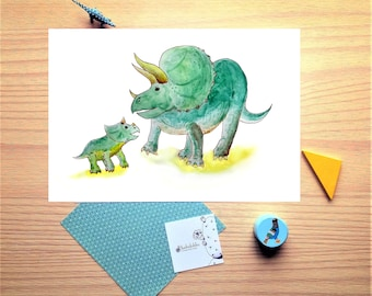 Triceratops, dinosaur, watercolor print, illustration, mother and baby, nursery, boy, girl, dinosaur print, baby gift
