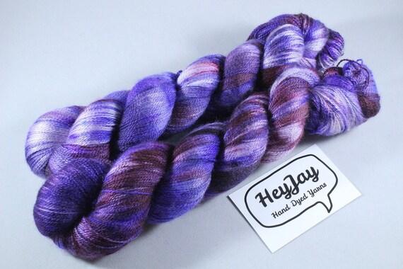 Hand Dyed Lace Merino/Silk Yarn - Swoony Velvet