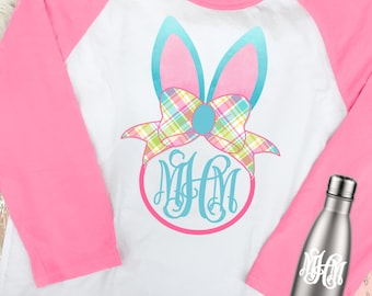 Monogrammed Bunny With Bow Raglan T-Shirt