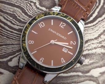 Mokume Gane Wristwatch In Polished Metal, Sienna Brown Alligator Grain Leather, Wood Jewelry, Johan Eduard Watches