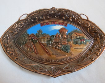 Six Flags Over Mid-America St. Louis, Missouri Amusement Theme Park Vintage Souvenir Metal Hanging Wall Plate or Tray Made in Japan
