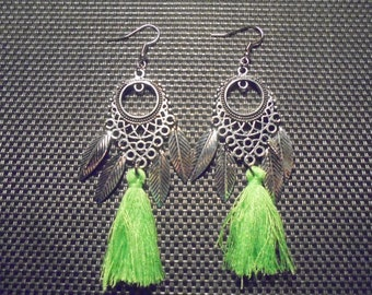 Tassel and fancy Silver earrings