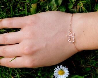 Rose Gold guardian angel bracelet, angel silhouette protection bracelet, angel charm bracelet, conformation baptism gift, small angel  485