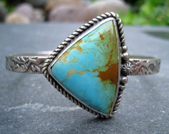 Kingman Turquoise Cuff, Sterling Silver Cuff, Turquoise Silver Cuff, Slender Silver Cuff, Textured Silver Cuff, Turquoise with Matrix
