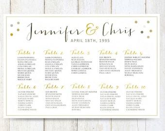 White Wedding Seating chart poster - DIGITAL Gold, Wedding seating chart sign - Printable - DIGITAL FILE!
