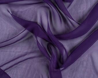 "45"" Wide 100% Silk Chiffon Purple By the Yard (5000M156)"