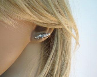 Alligator earrings, crocodile earrings studs, Silver ear climbers, Stud earrings
