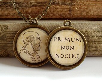 Hippocrates Necklace - Hippocratic Oath - DOUBLE SIDED Philosophy Necklace in Bronze or Silver