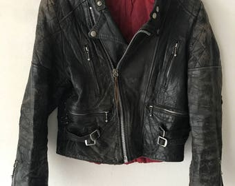 Real Vintage Motorcycle Leather Jacket Original Style Metal Fittings For a Real Girl-Biker Woman Size-small.