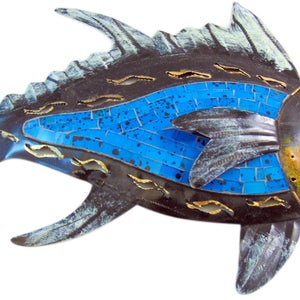 Mosaic Fish Handmade Metal House Wall Art Decor Plaque Hanging Sculpture 13  Inches Long With Unique