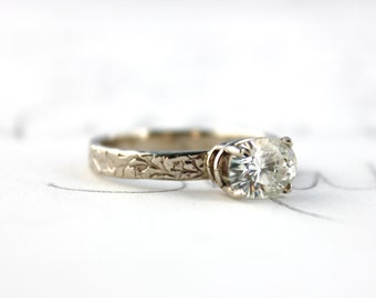 SALE moissanite engagement ring . unique engagement ring . diamond alternative engagement ring by peaces of indigo . ready to ship size 7.5