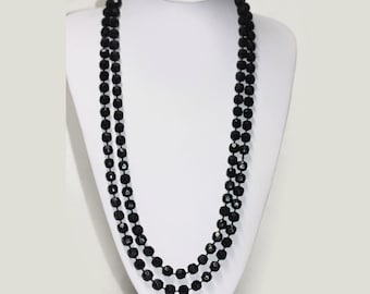 VERY LONG Vintage Black Faceted Plastic Bead Necklace