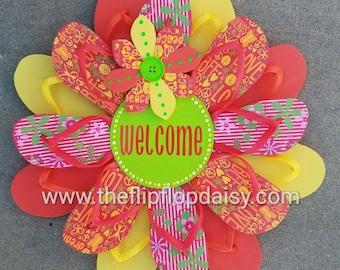 """Beautiful """"Welcome"""" Flip Flop Wreath Wall Door Decor Beach Ocean Unique Gift Orange Lime Yellow"""